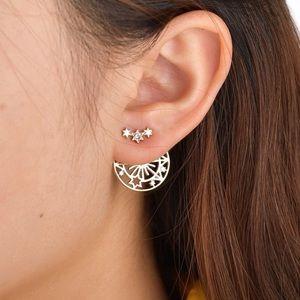 Gold/Crystal Star Studs w/Filagree Earring Jackets